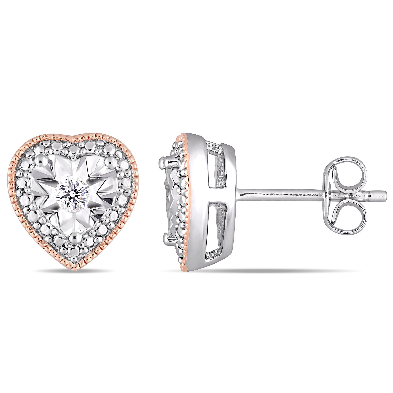 Diamond Milgrain Filigree Heart Shaped 1/10ctw Stud Earrings in Rose Plated Sterling Silver