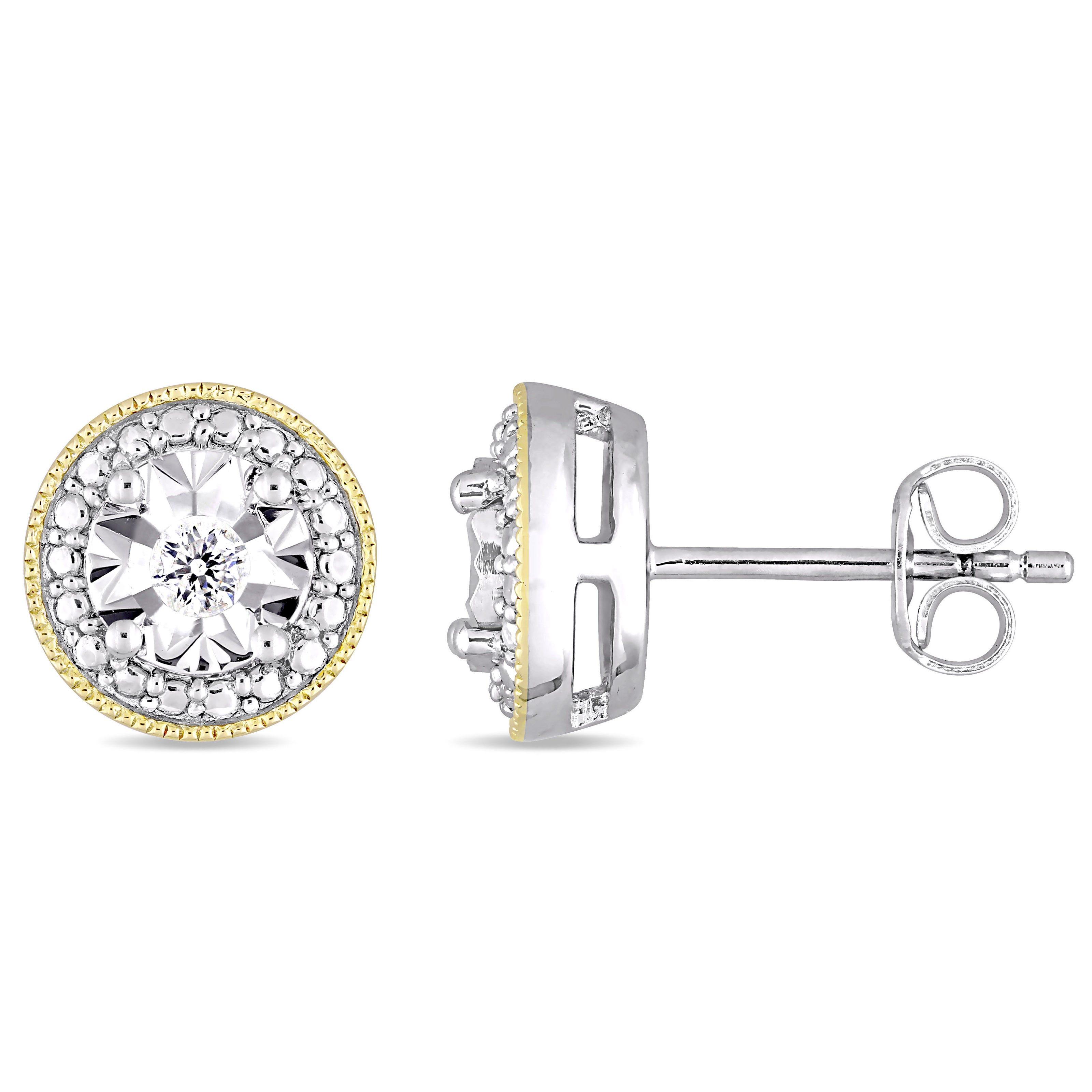 Diamond Milgrain Filigree 1/10ctw Stud Earrings in Yellow Plated Sterling Silver