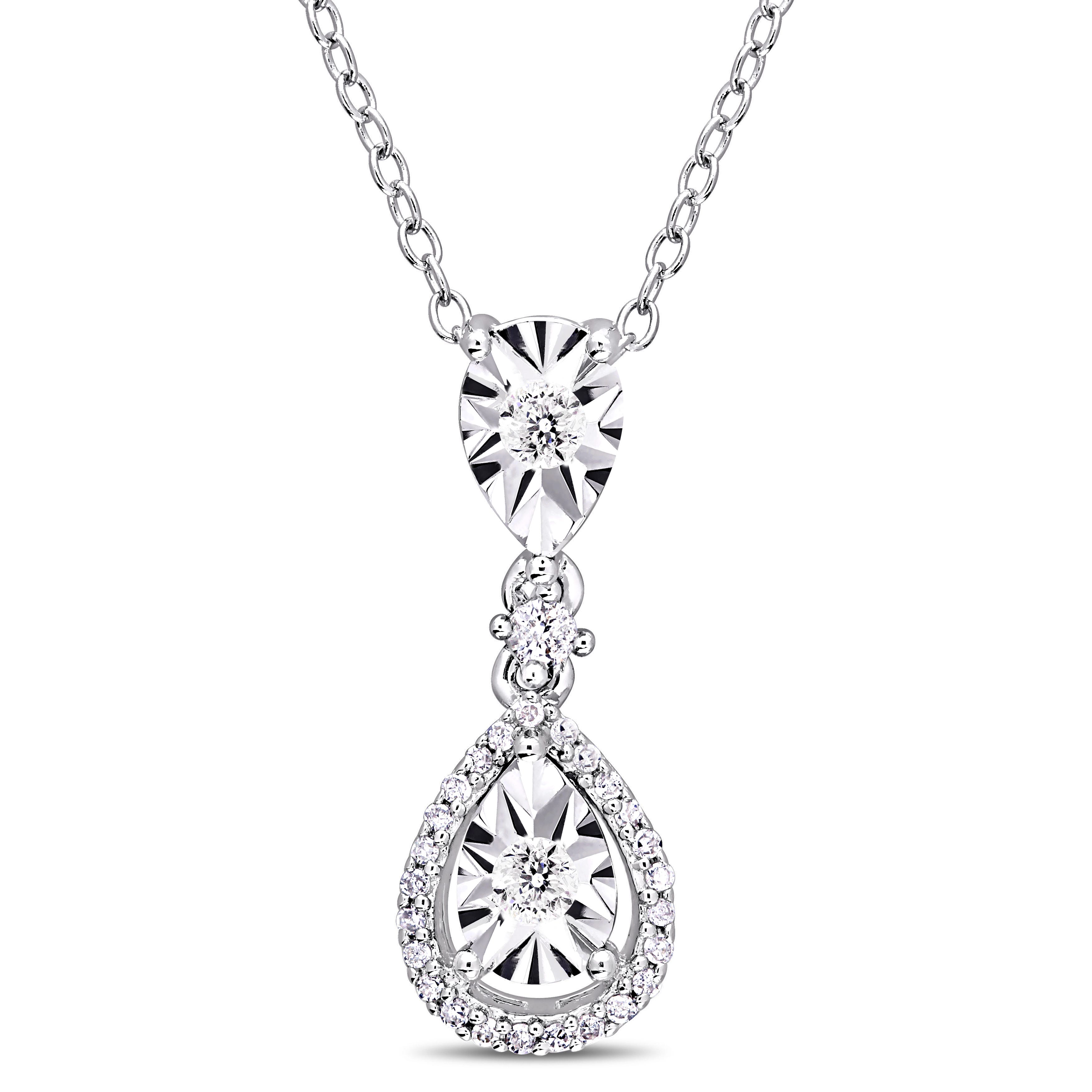Diamond Teardrop Two-Tier Pendant 1/5ctw with Chain in Sterling Silver