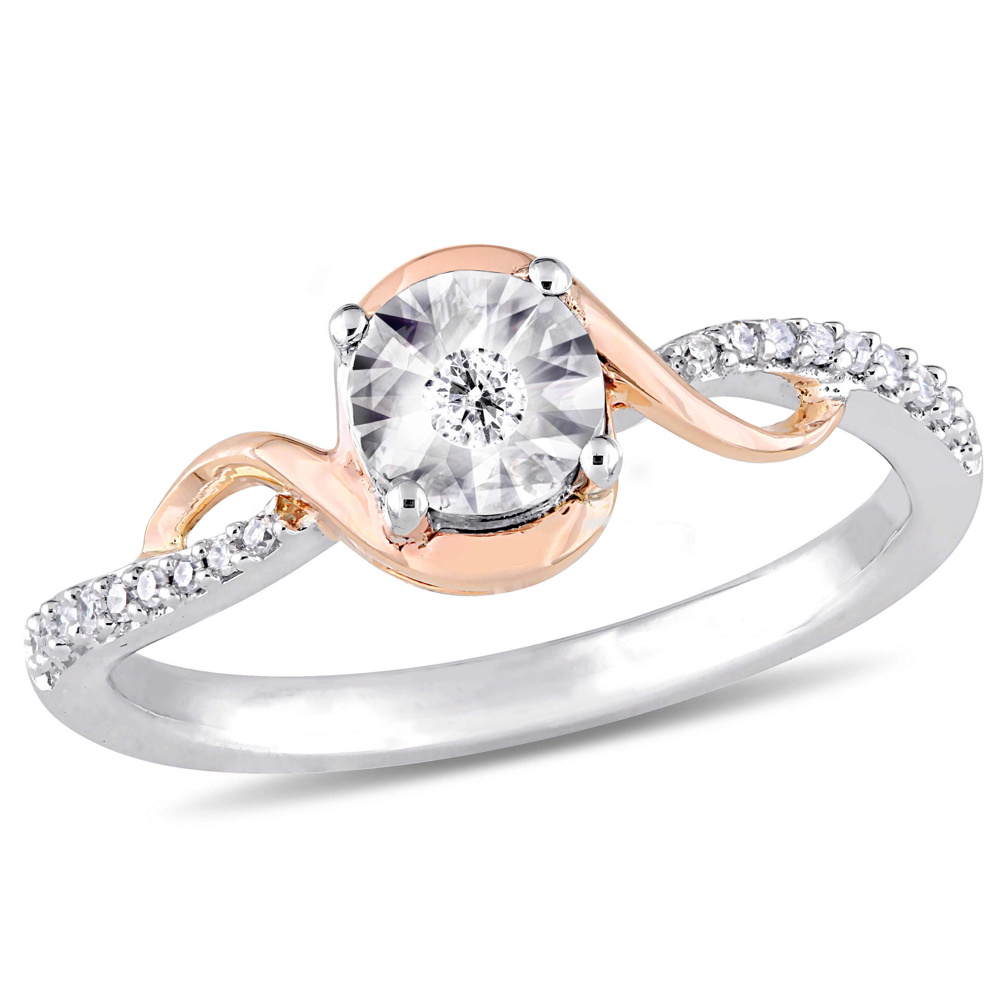Diamond Promise Ring 1/10ctw in 10k White and Rose Gold