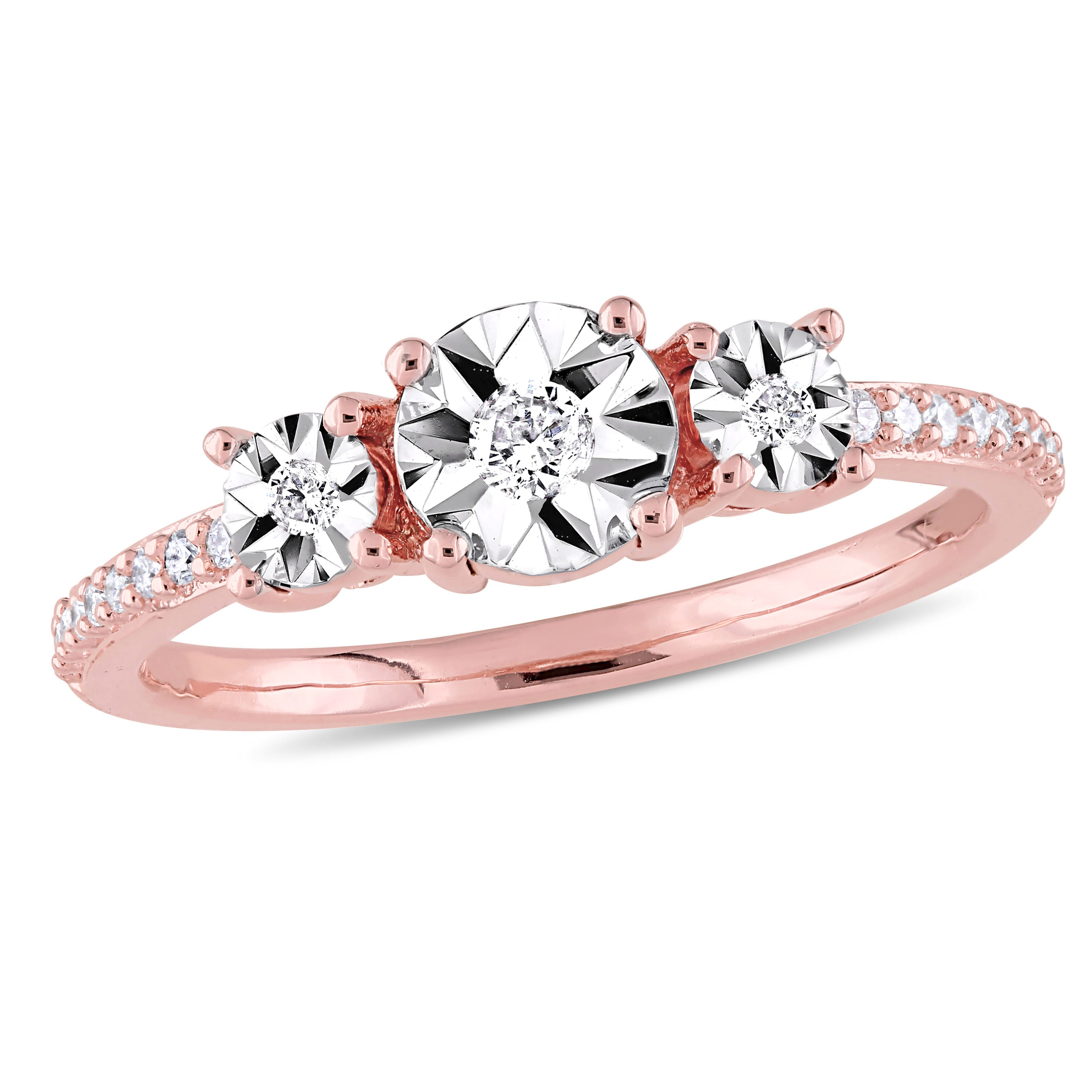 Diamond Three-Stone Engagement Ring 1/7ctw in Rose Plated Sterling Silver
