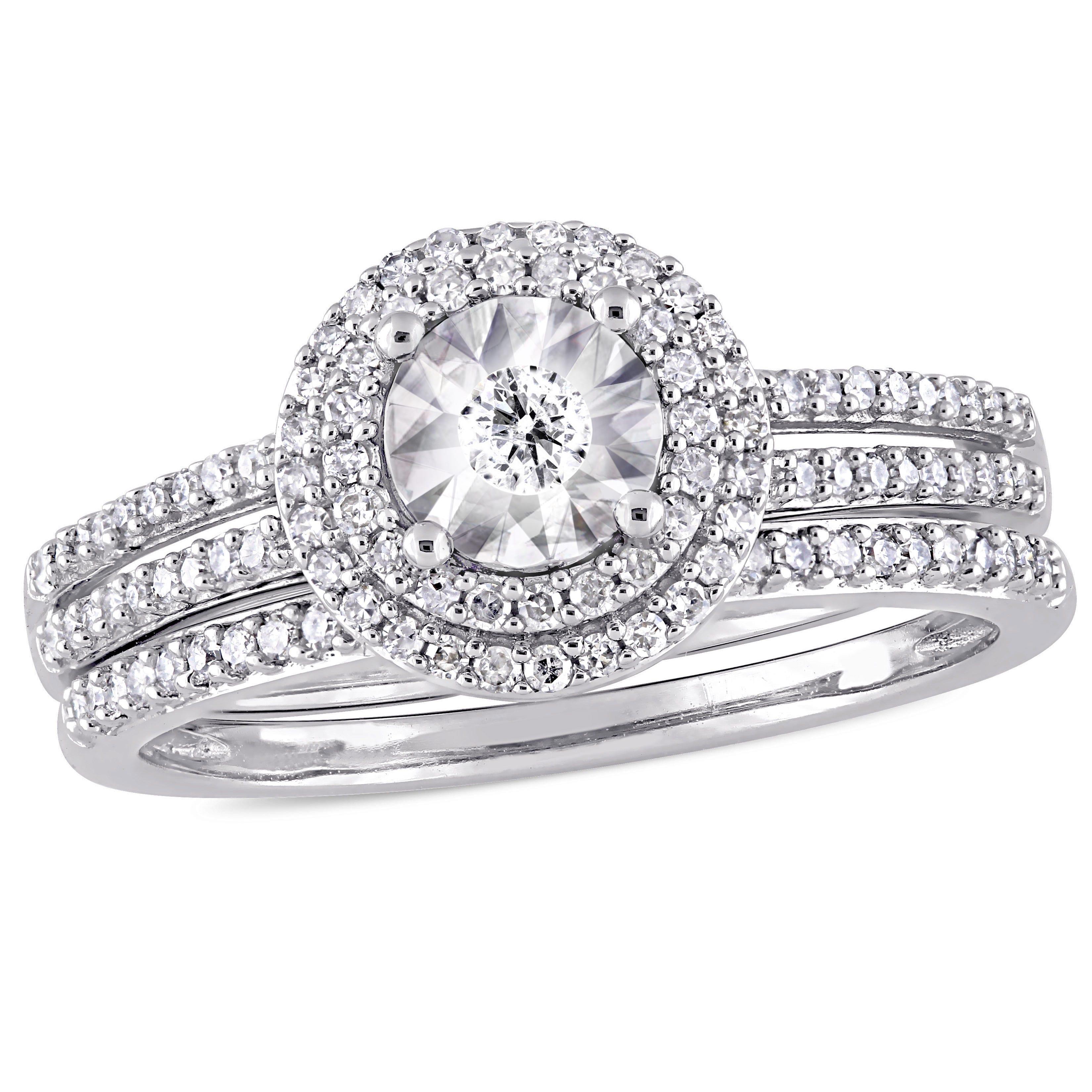 Diamond Halo Bridal Set 3/8ctw in 10k White Gold