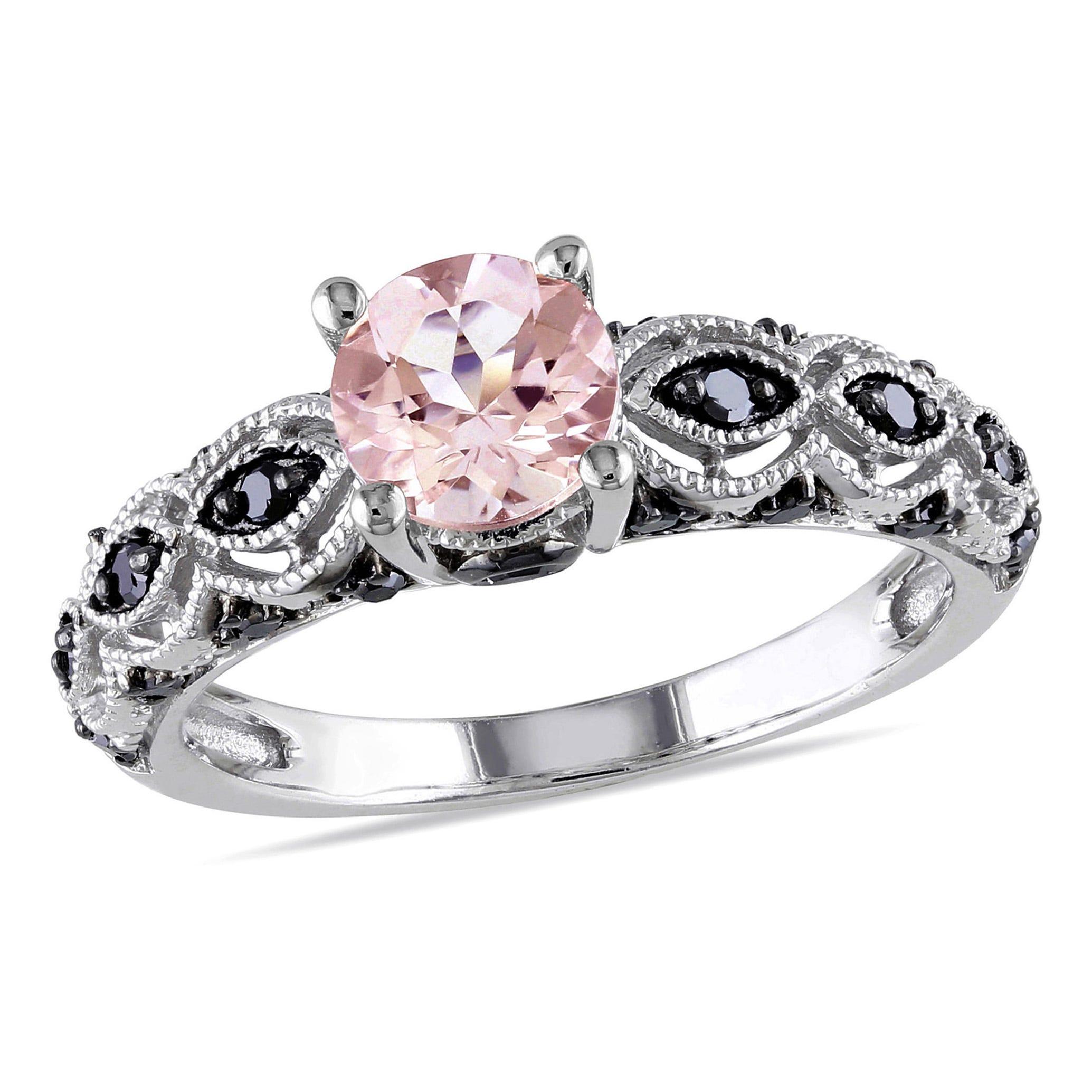 Round Cut Morganite and Black Diamond Ring in 10k White Gold