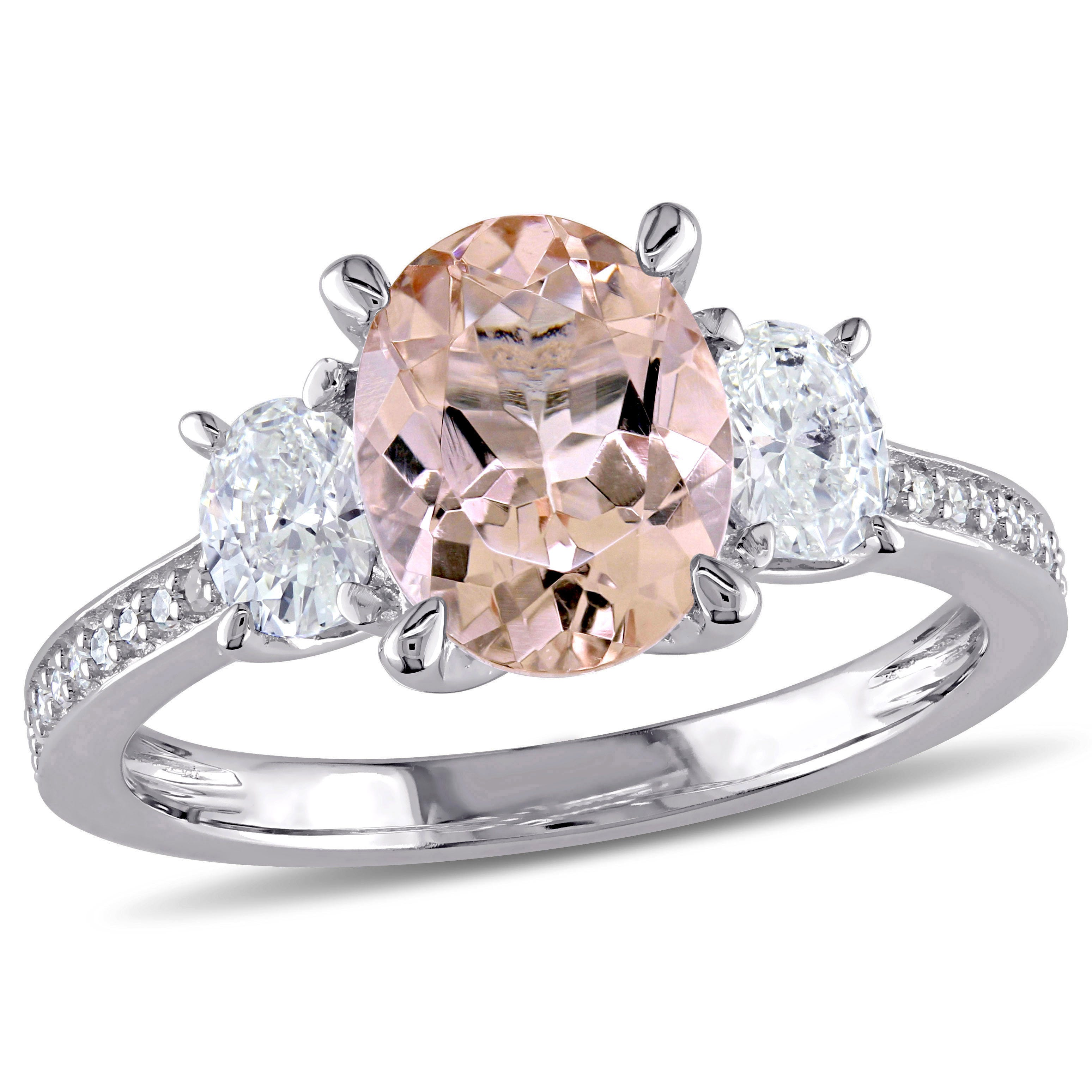 Round Cut 1/2ctw Morganite and Diamond Ring in 14k White Gold