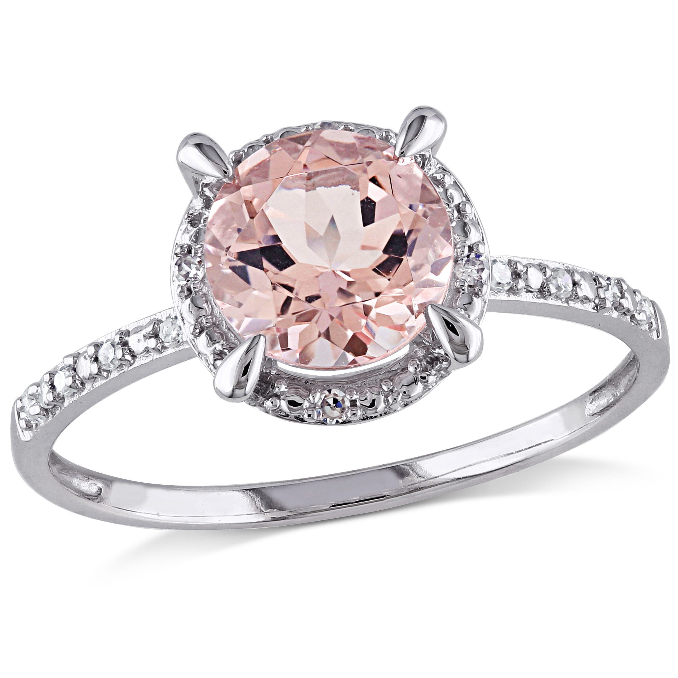 Round Cut Morganite and Diamond Ring in 10k White Gold