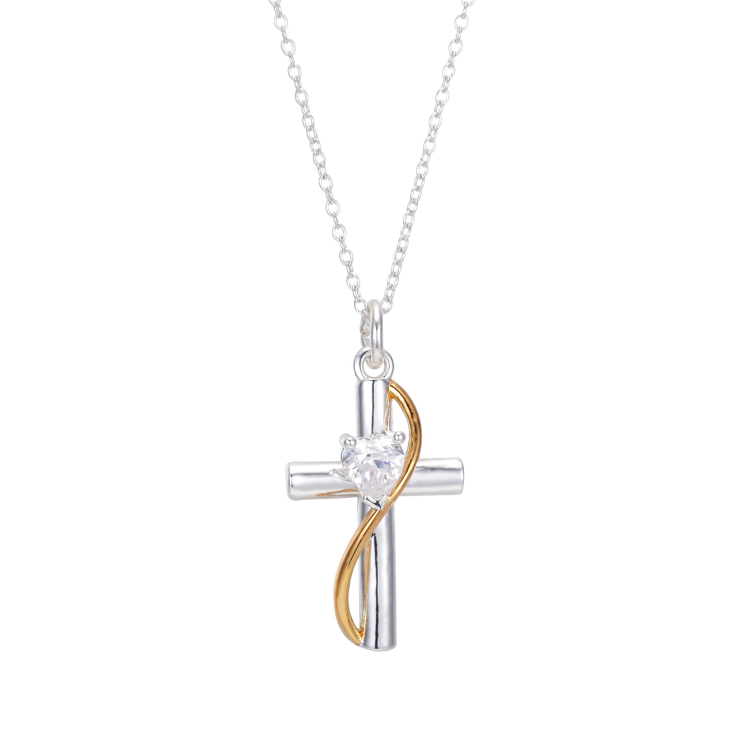 Cross Pendant with Cubic Zirconia in Silver Plated Two-Tone