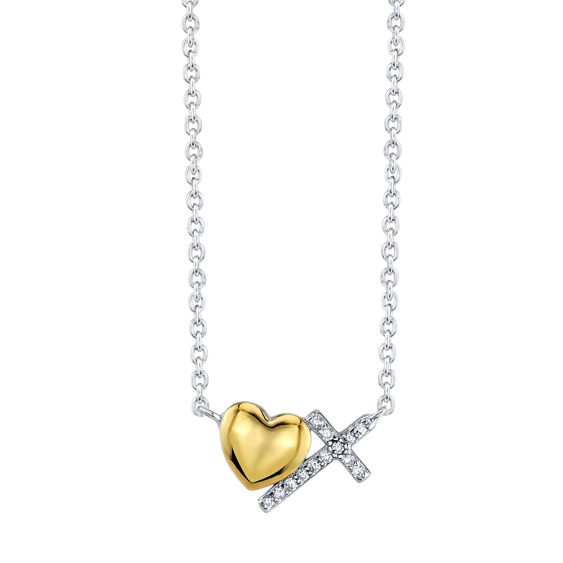 Cross and Heart Dainty Necklace with Crystal in Silver Plated Two-Tone
