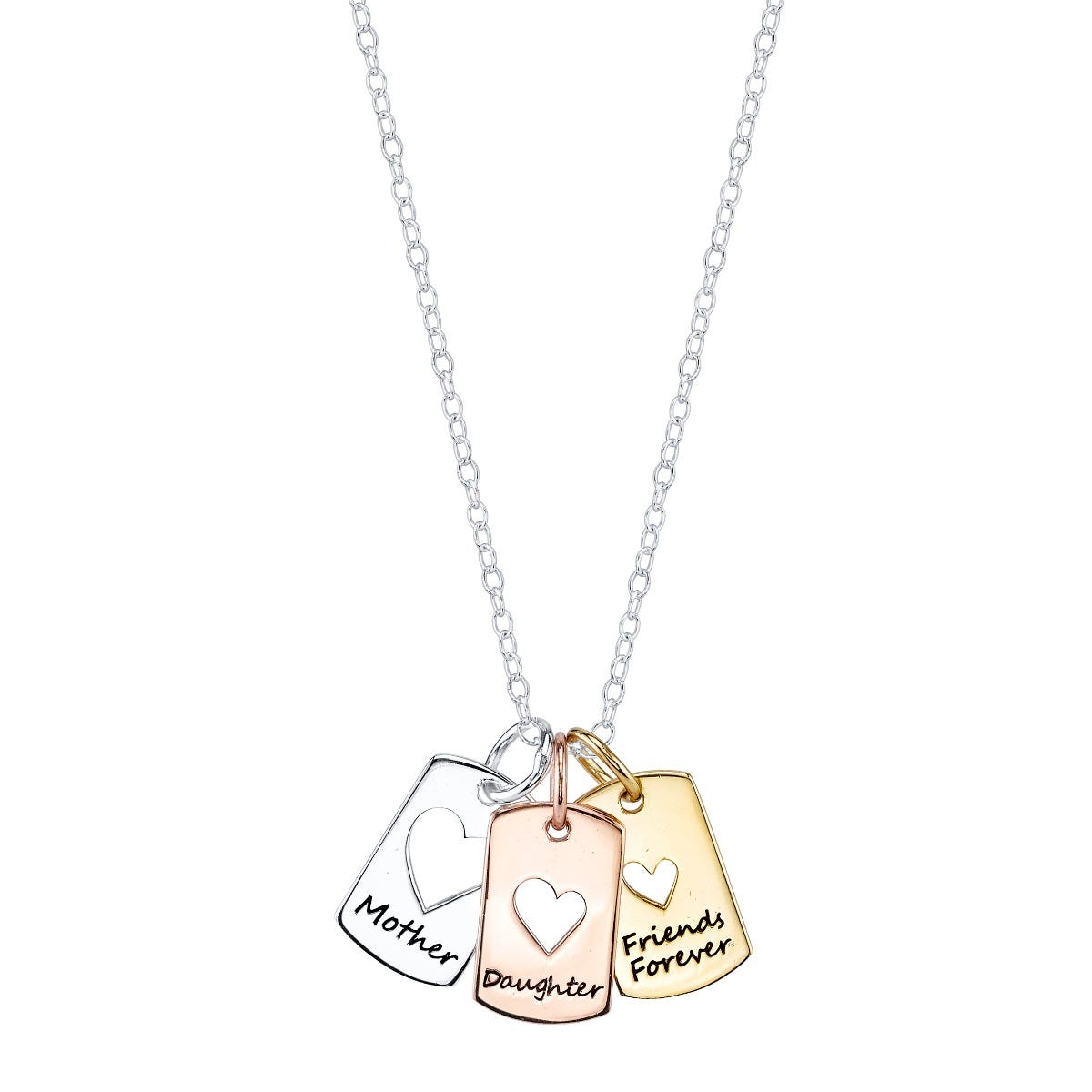 Mother Daughter Friend Message Pendant in Silver Plated Tri-Tone