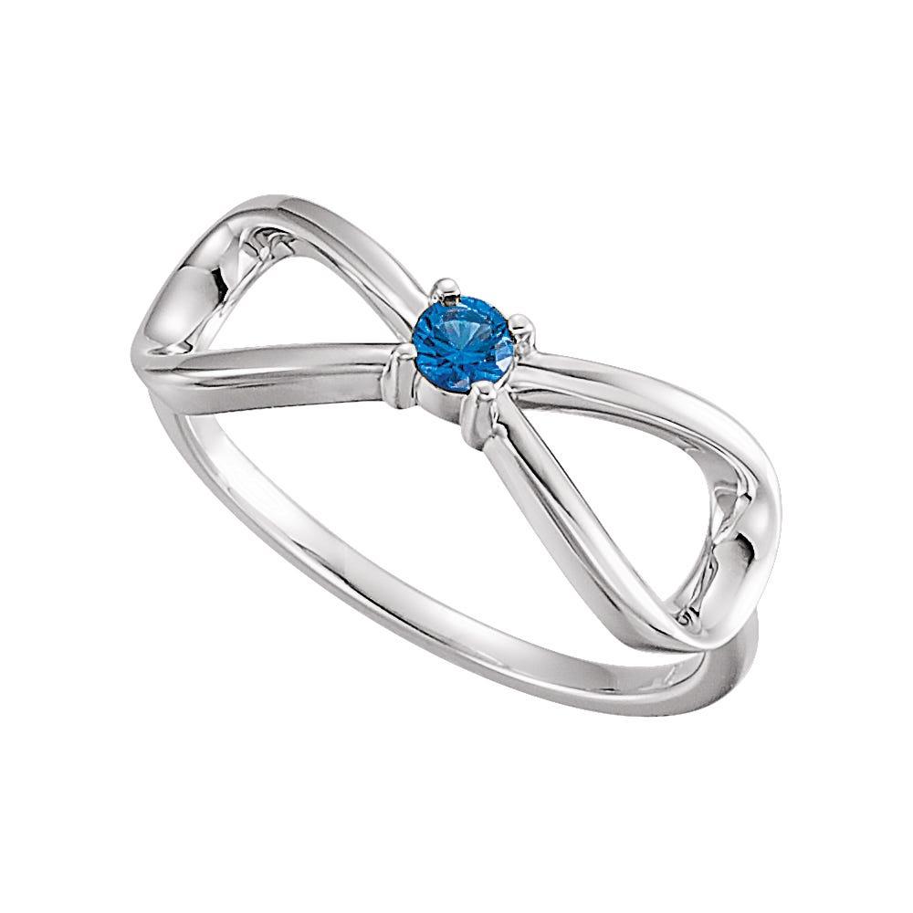 Infinity 1-Stone Family Ring in 14k White Gold