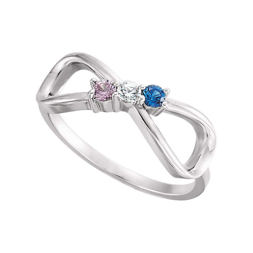 Infinity 3-Stone Family Ring in 14k White Gold