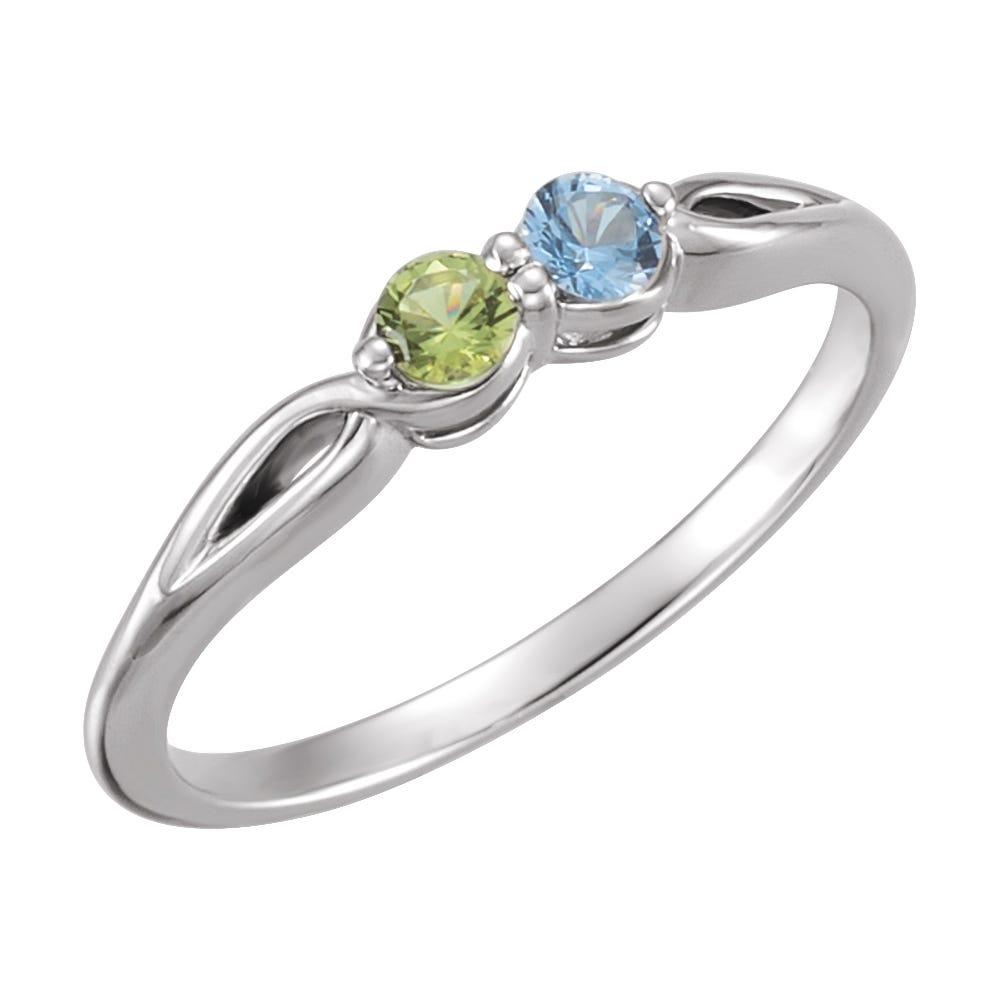 2-Stone Family Ring in 14k White Gold