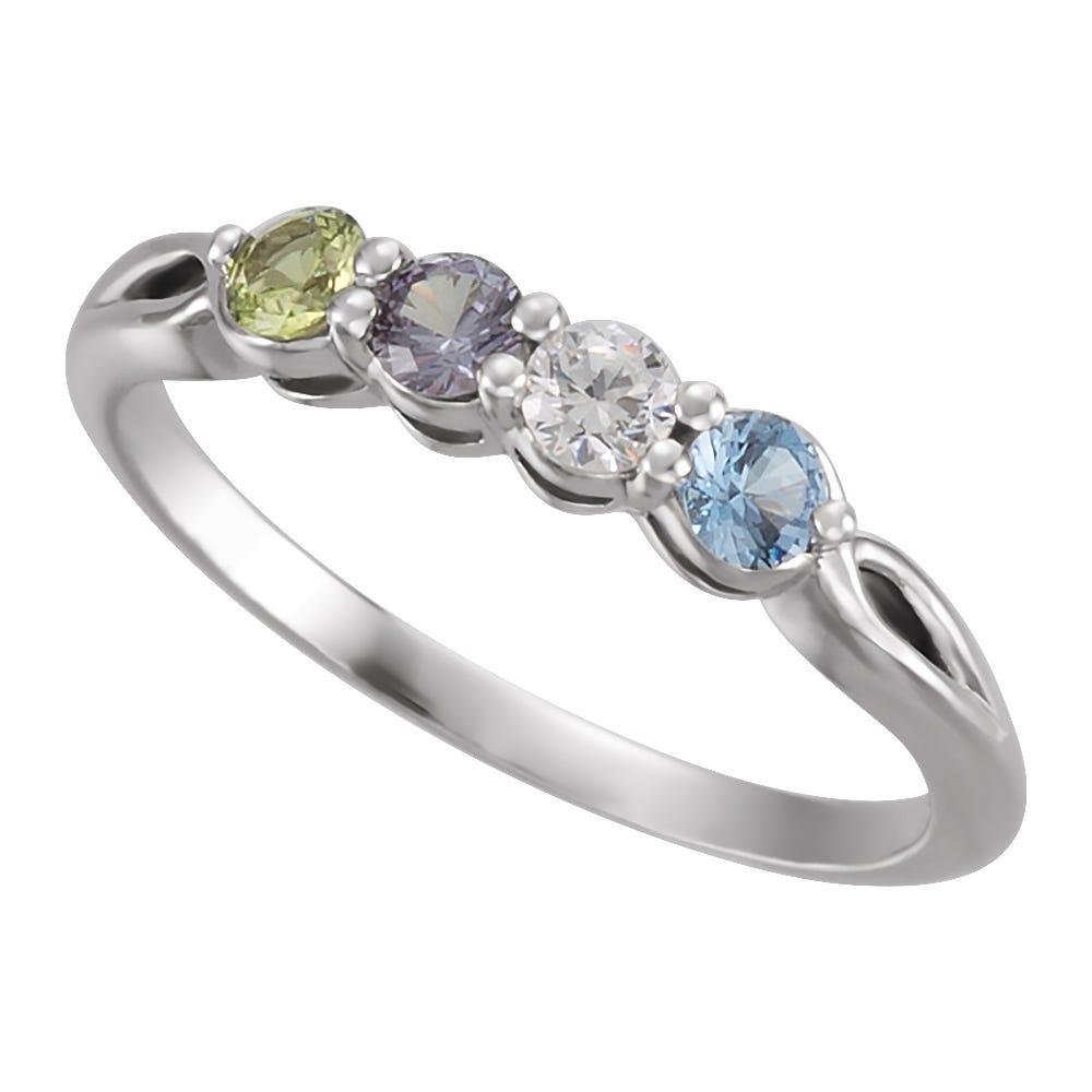 4-Stone Family Ring in 14k White Gold