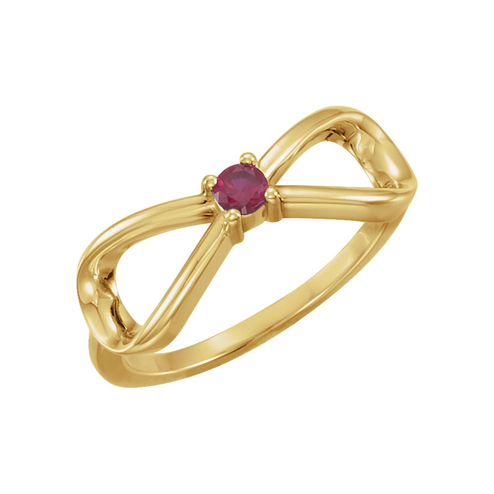 Infinity 1-Stone Family Ring in 14k Yellow Gold