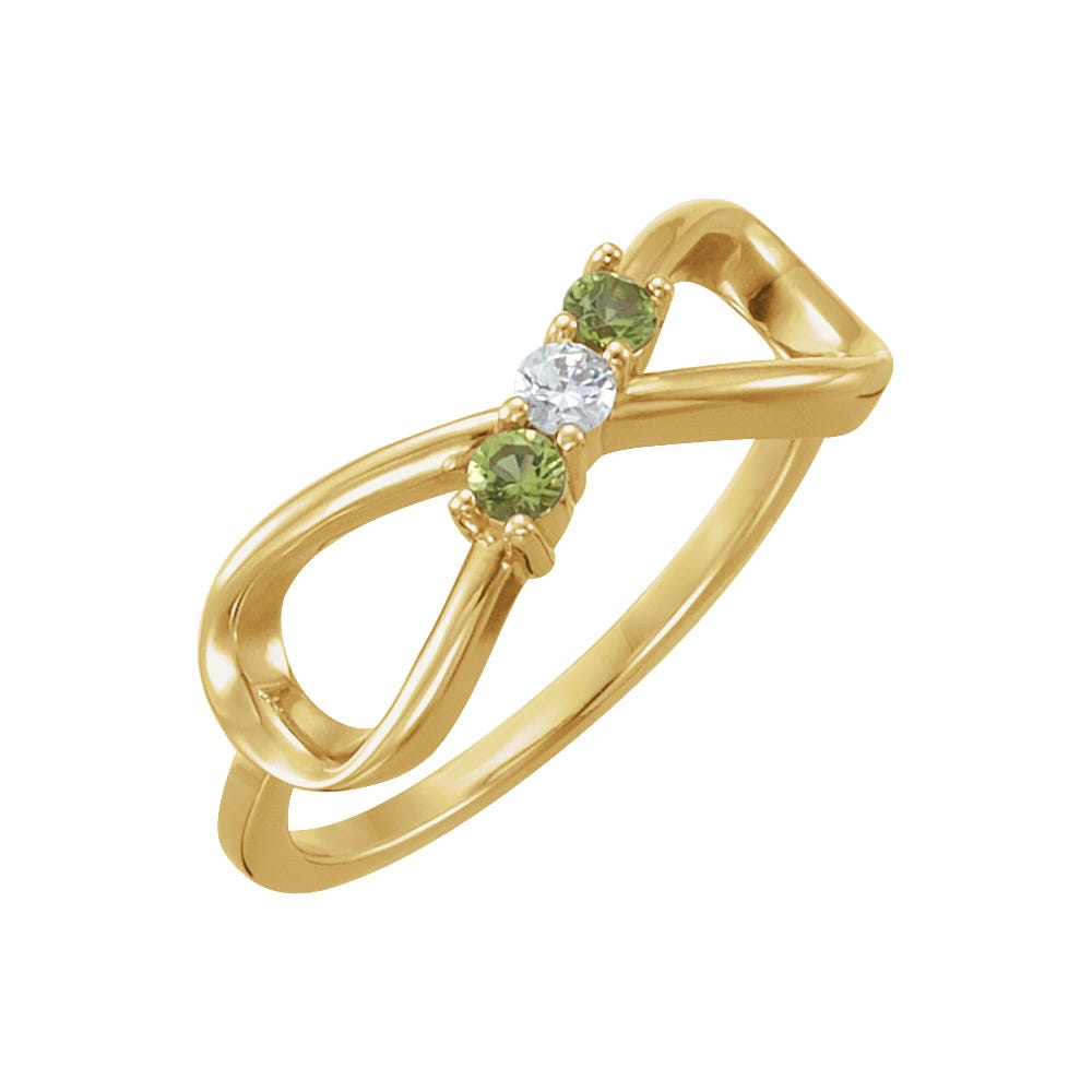 Infinity 3-Stone Family Ring in 14k Yellow Gold