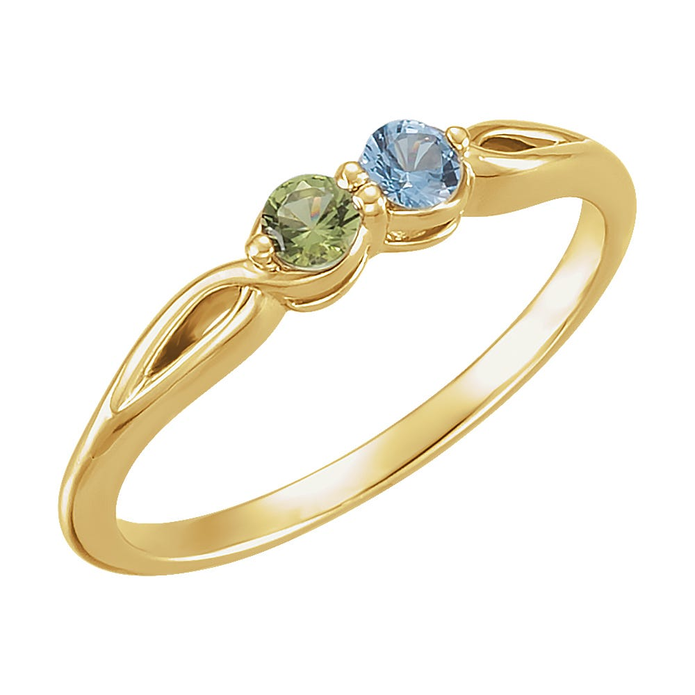 2-Stone Family Ring in 14k Yellow Gold