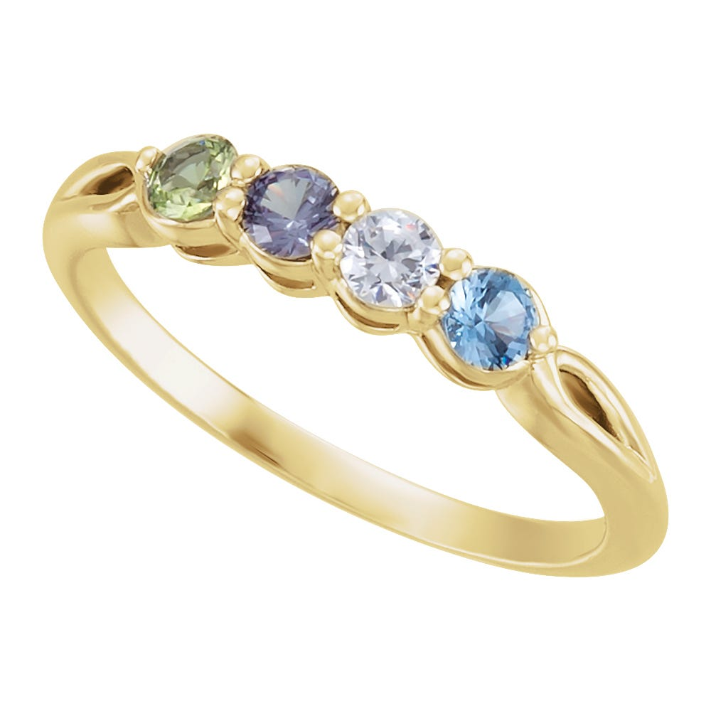 4-Stone Family Ring in 14k Yellow Gold