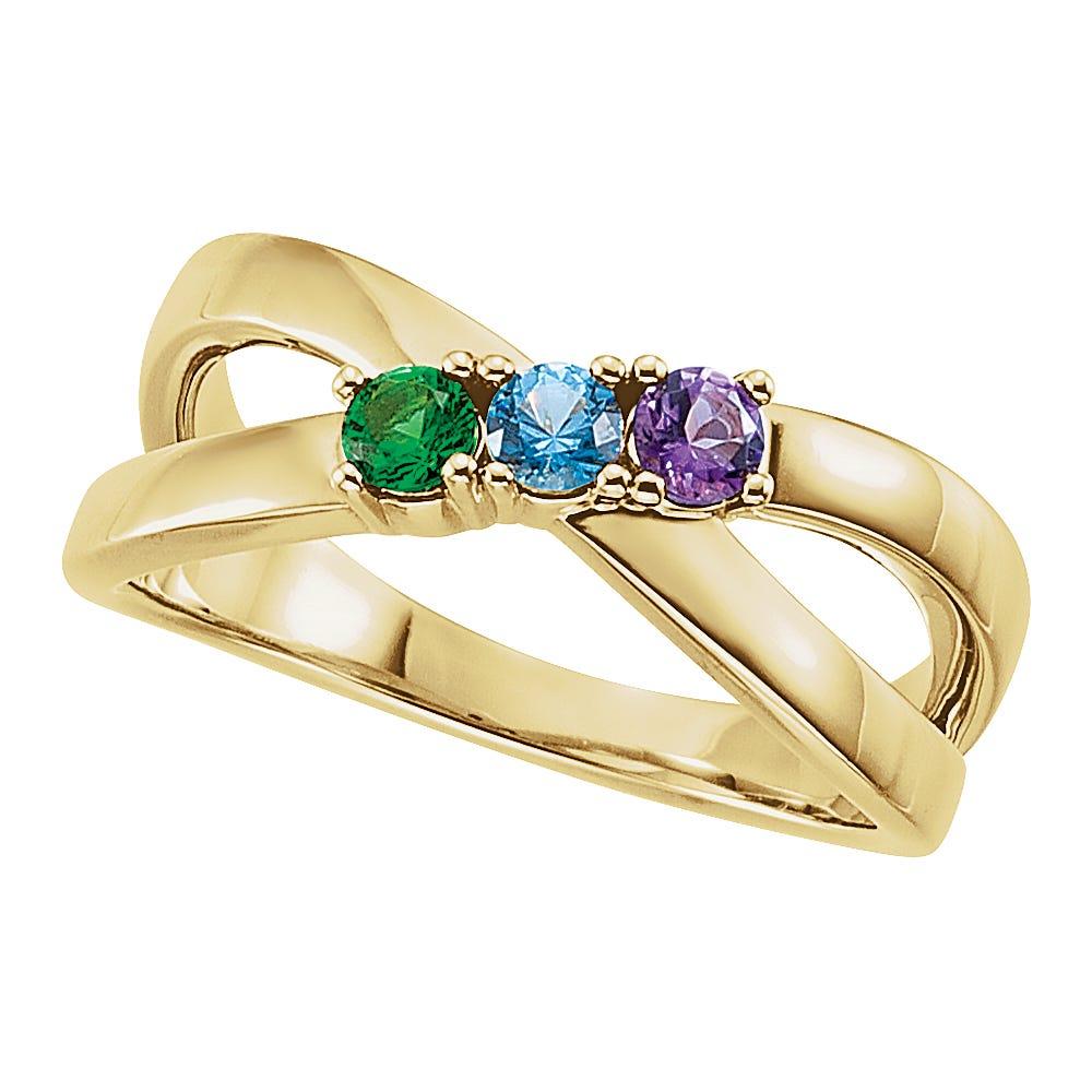 3-Stone Split Shank Family Ring in 14k Yellow Gold