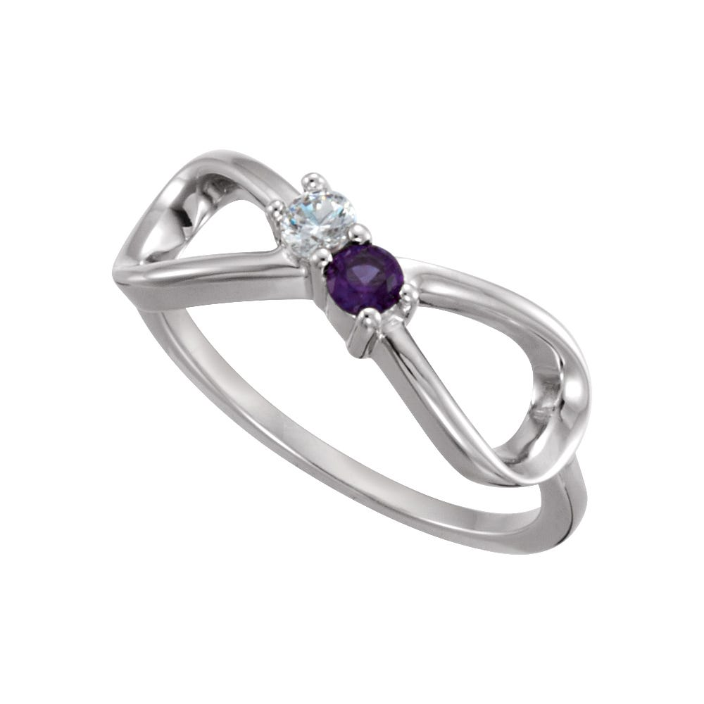 Infinity 2-Stone Family Ring in Sterling Silver