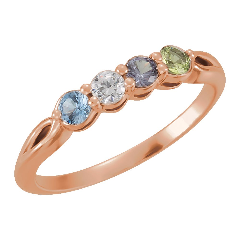 4-Stone Family Ring in 10k Rose Gold