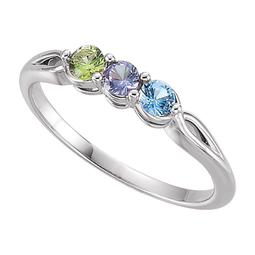 3-Stone Family Ring in 10k White Gold