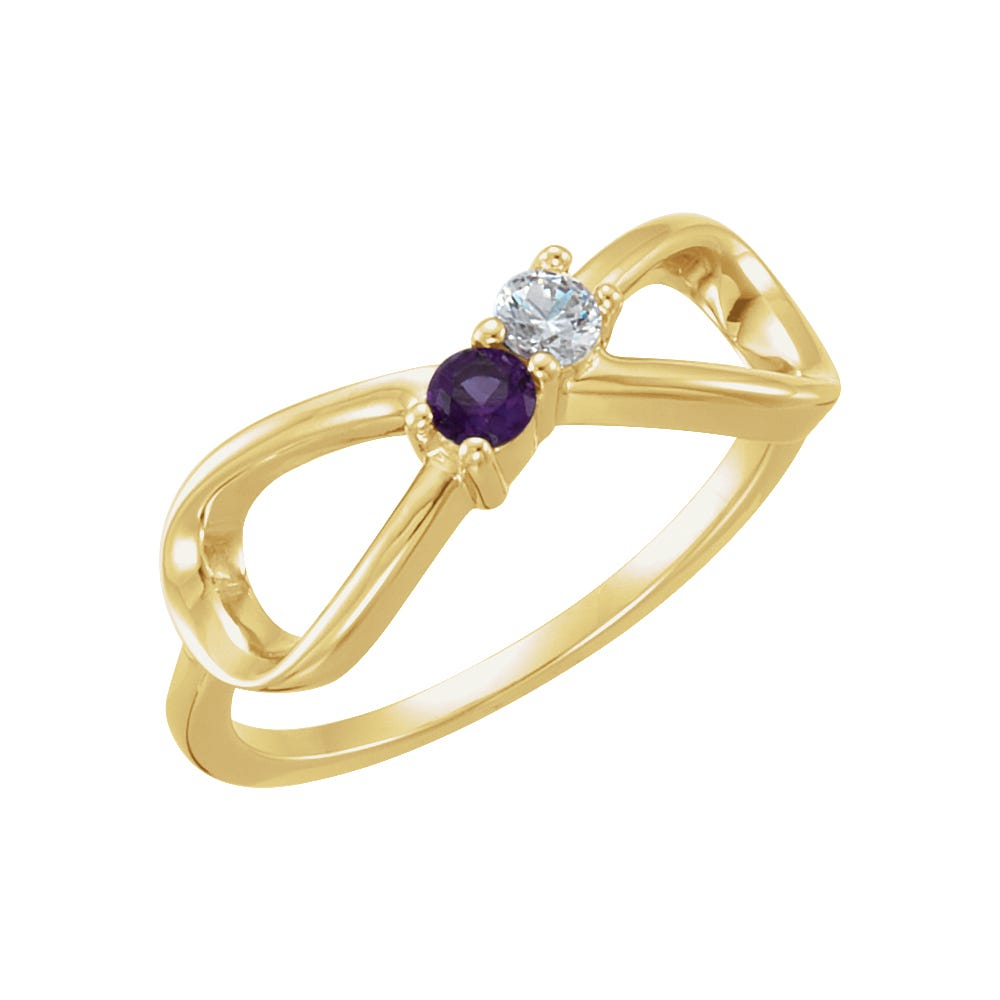 Infinity 2-Stone Family Ring in 10k Yellow Gold