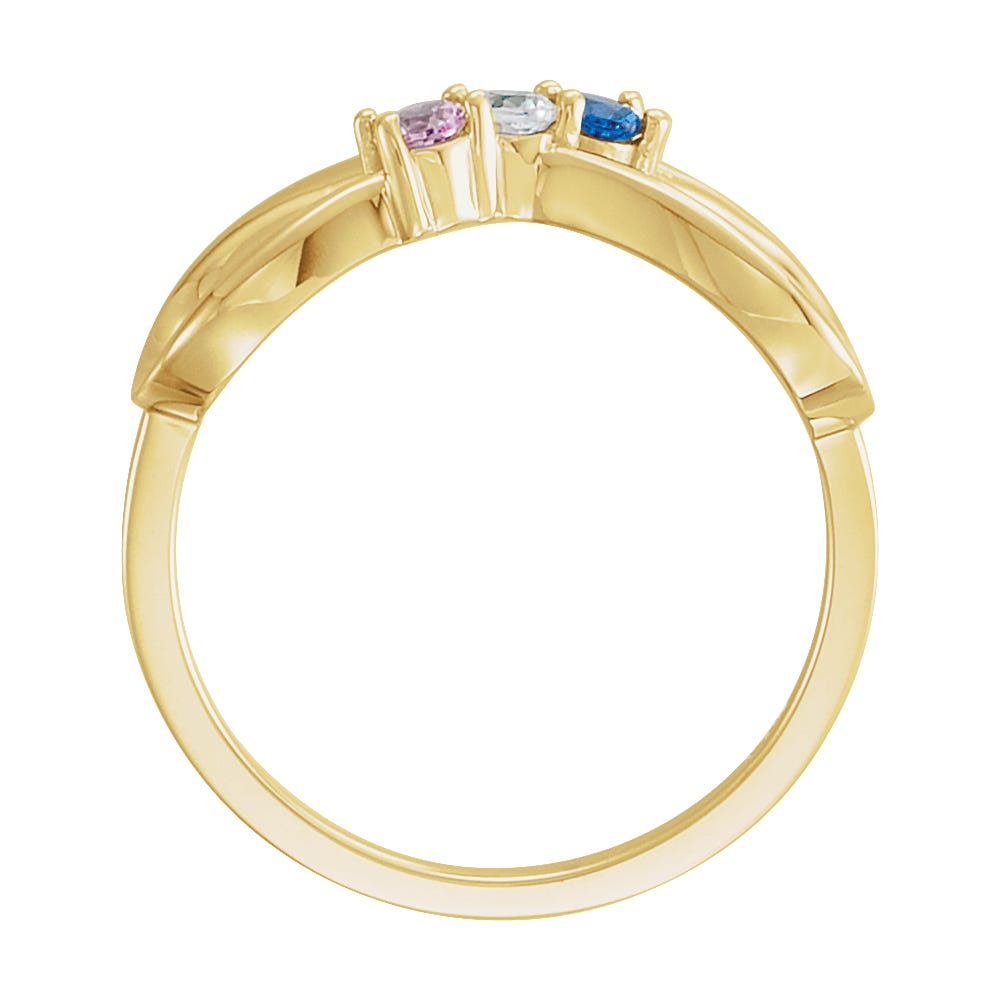 Infinity 3-Stone Family Ring in 10k Yellow Gold