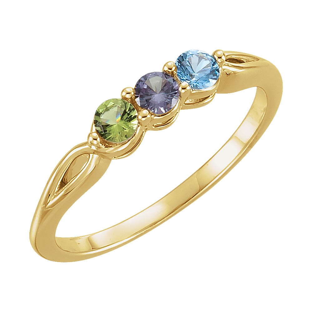 3-Stone Family Ring in 10k Yellow Gold
