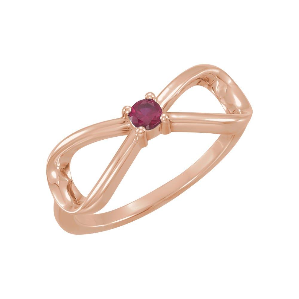 Infinity 1-Stone Family Ring in 14k Rose Gold