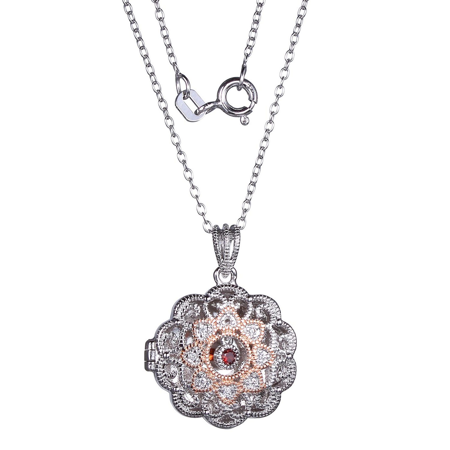 Genuine Garnet & Cubic Zirconia Flower Filigree Locket with 18in. Rolo Chain in Rose Gold Plated Sterling Silver