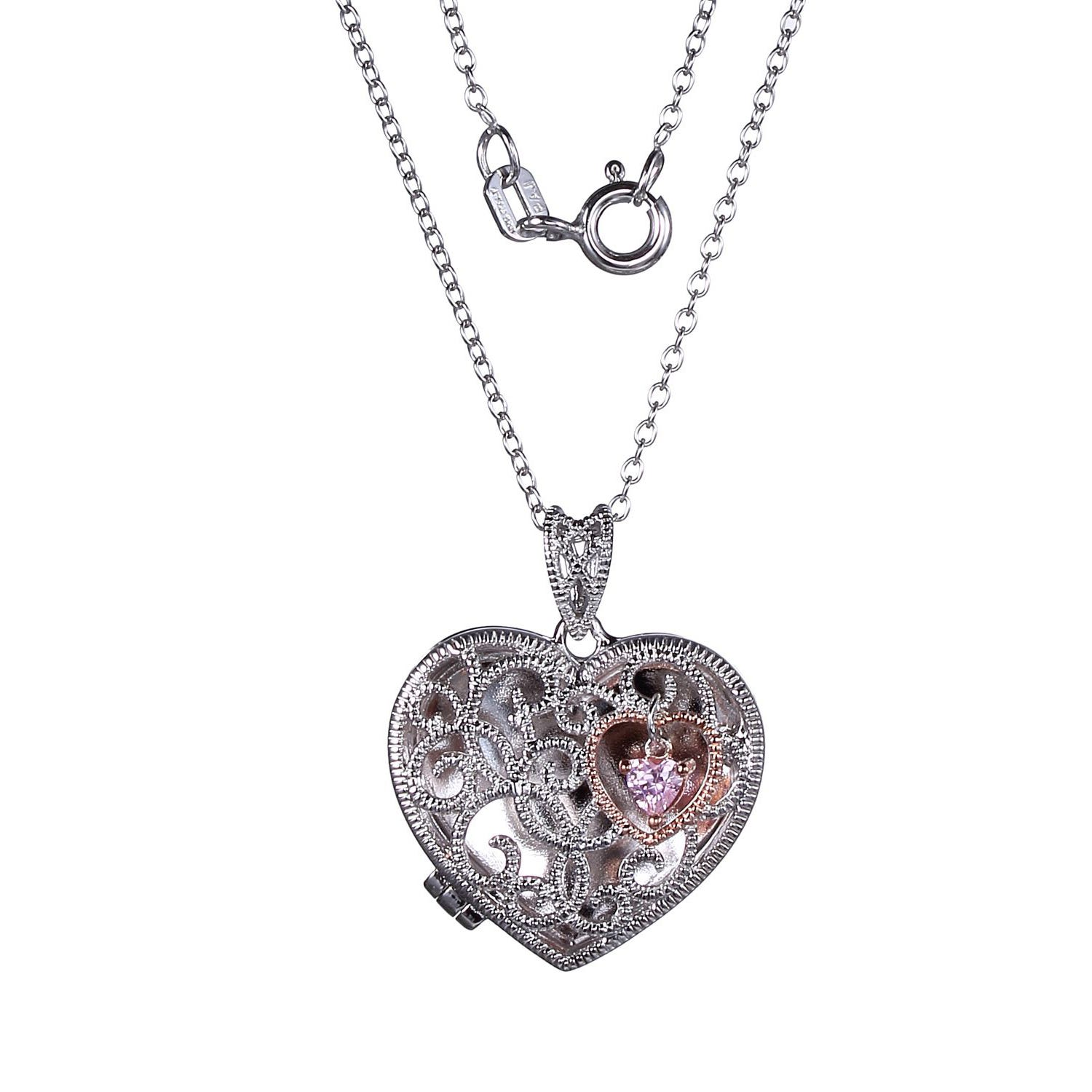 Pink Cubic Zirconia Filigree Heart Shape Locket with 18in. Rolo Chain in Rose Gold Plated Sterling Silver