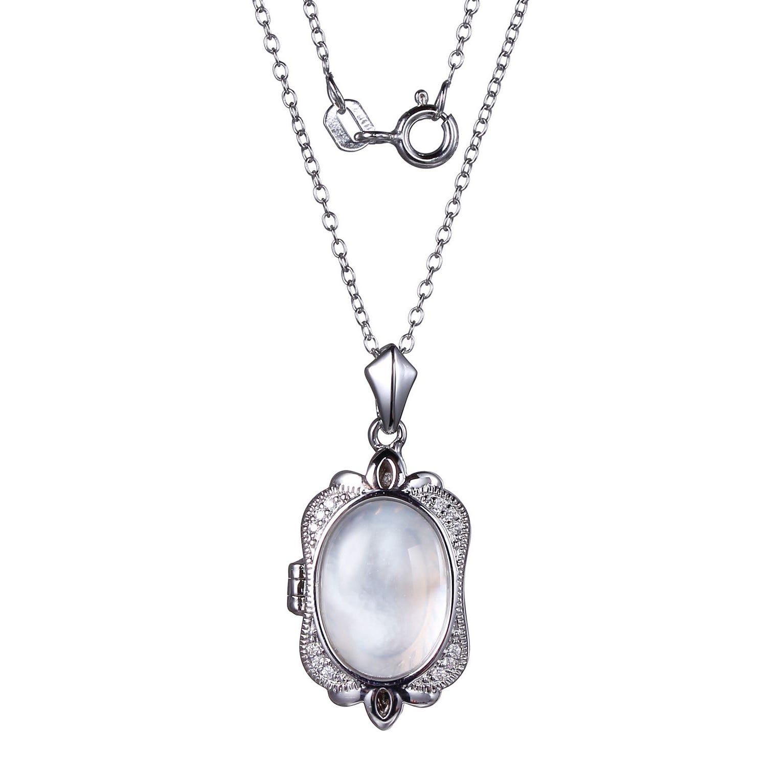 Genuine Oval Cabochon White Mother-of-Pearl Locket with 18in. Rolo Chain in Rhodium Plated Sterling Silver