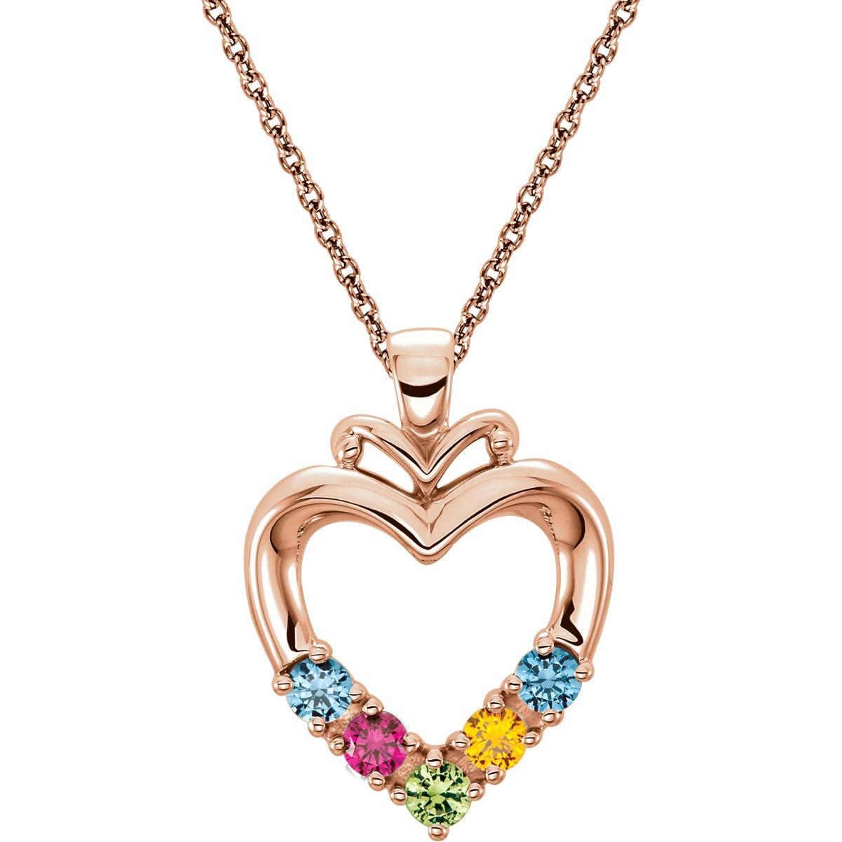 5-Stone Family Heart Pendant in 10k Rose Gold