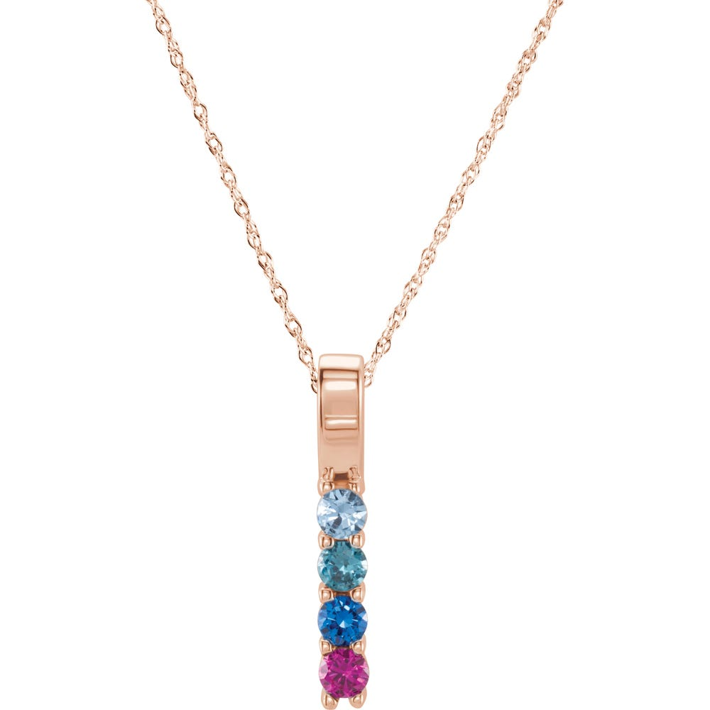 4-Stone Family Vertical Bar Pendant in 10k Rose Gold
