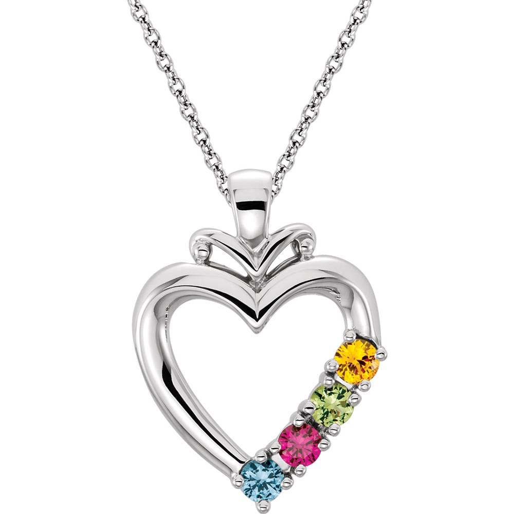 4-Stone Family Heart Pendant in 10k White Gold