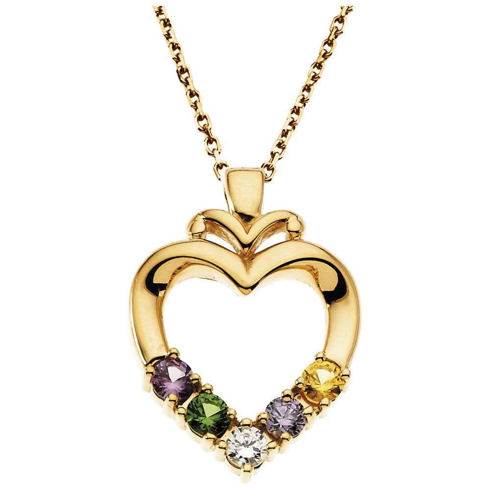 5-Stone Family Heart Pendant in 10k Yellow Gold