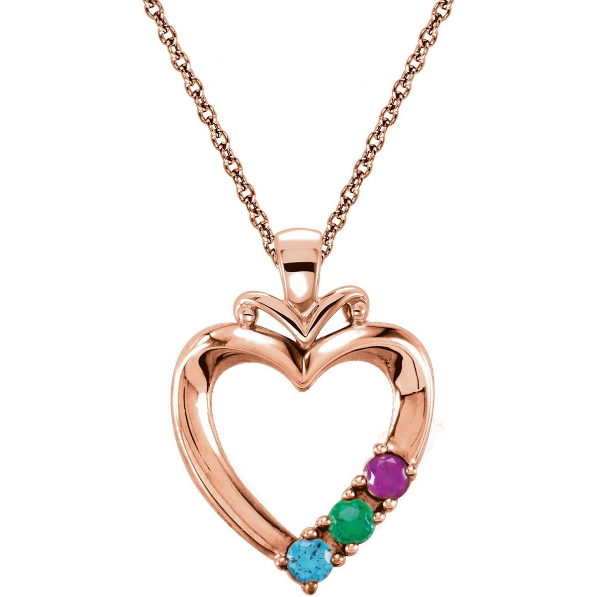 3-Stone Family Heart Pendant in 14k Rose Gold
