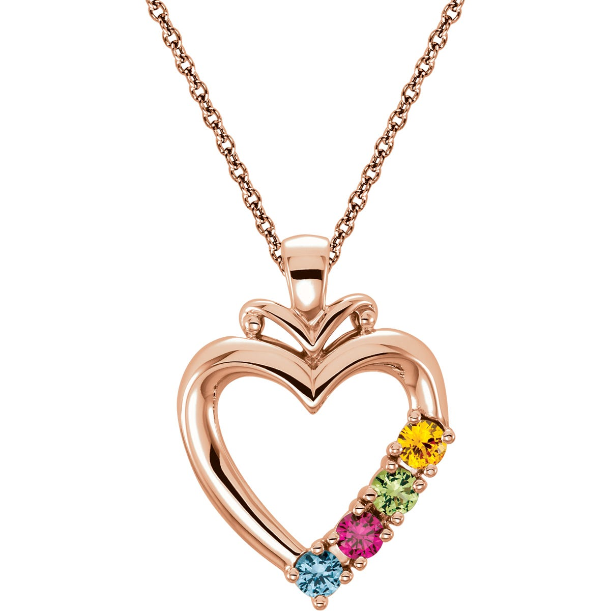 4-Stone Family Heart Pendant in 14k Rose Gold