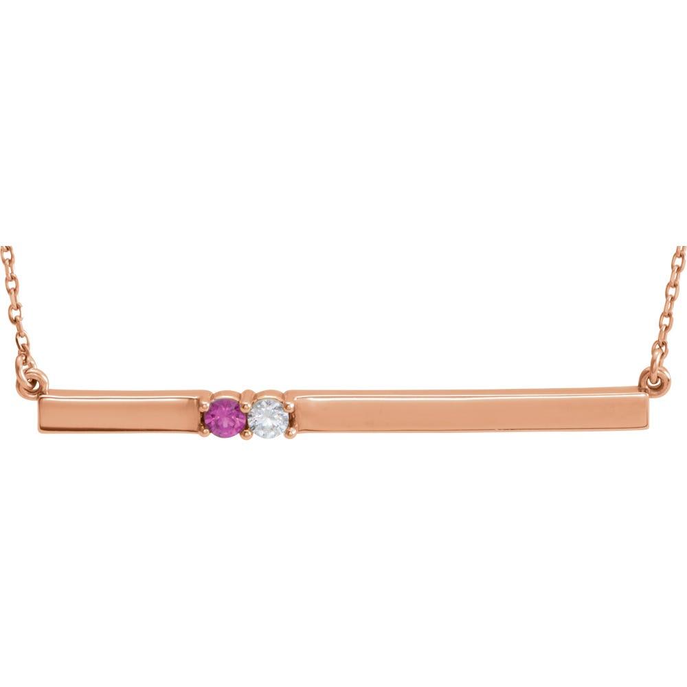 2-Stone Family Horizontal Bar Pendant in 14k Rose Gold