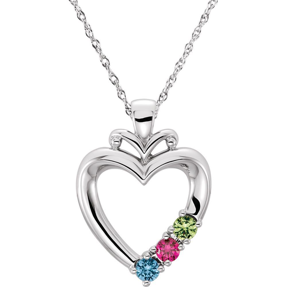 3-Stone Family Heart Pendant in 14k White Gold