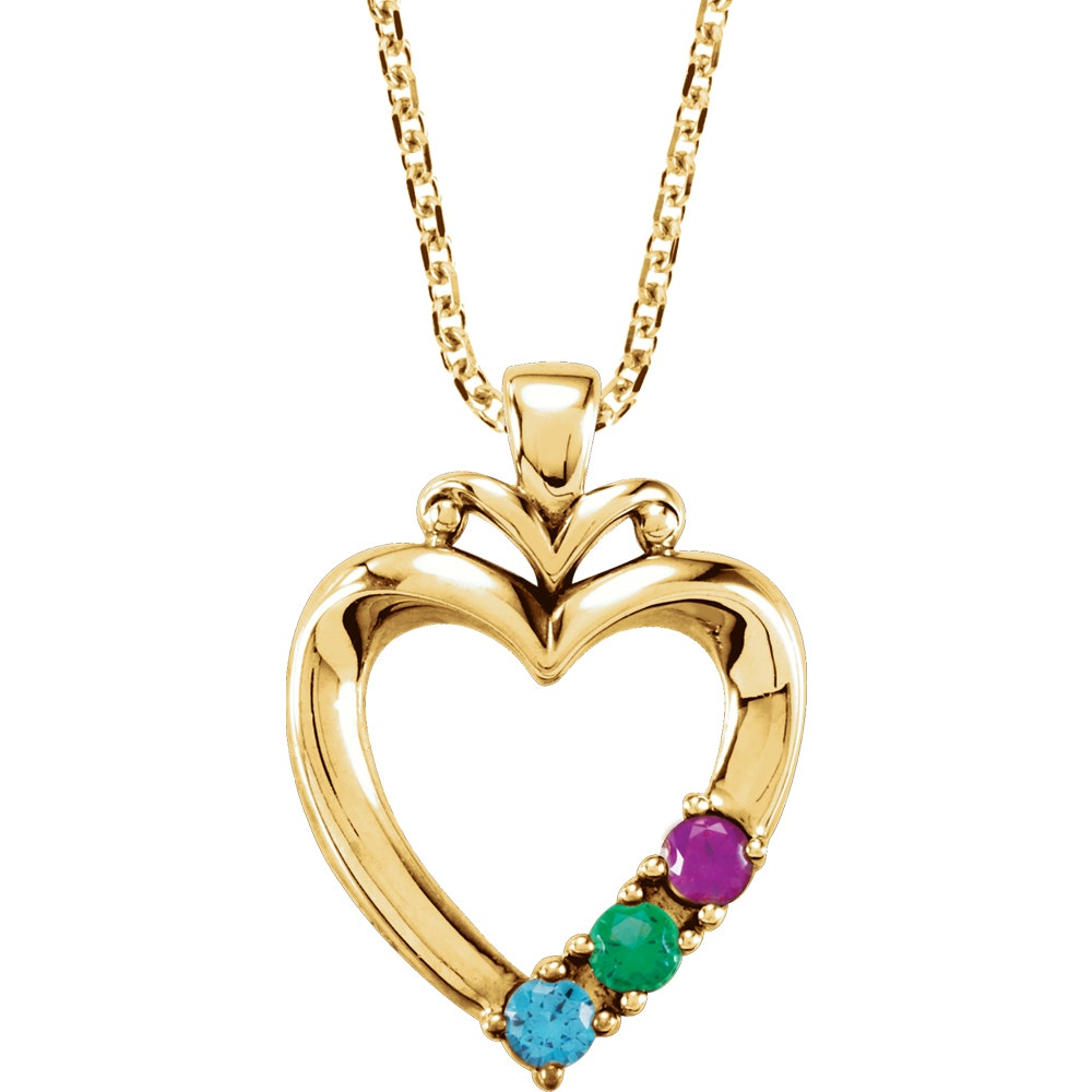 Round Shape Alexandrite Open Heart Pendant Necklace 14K White Gold Over