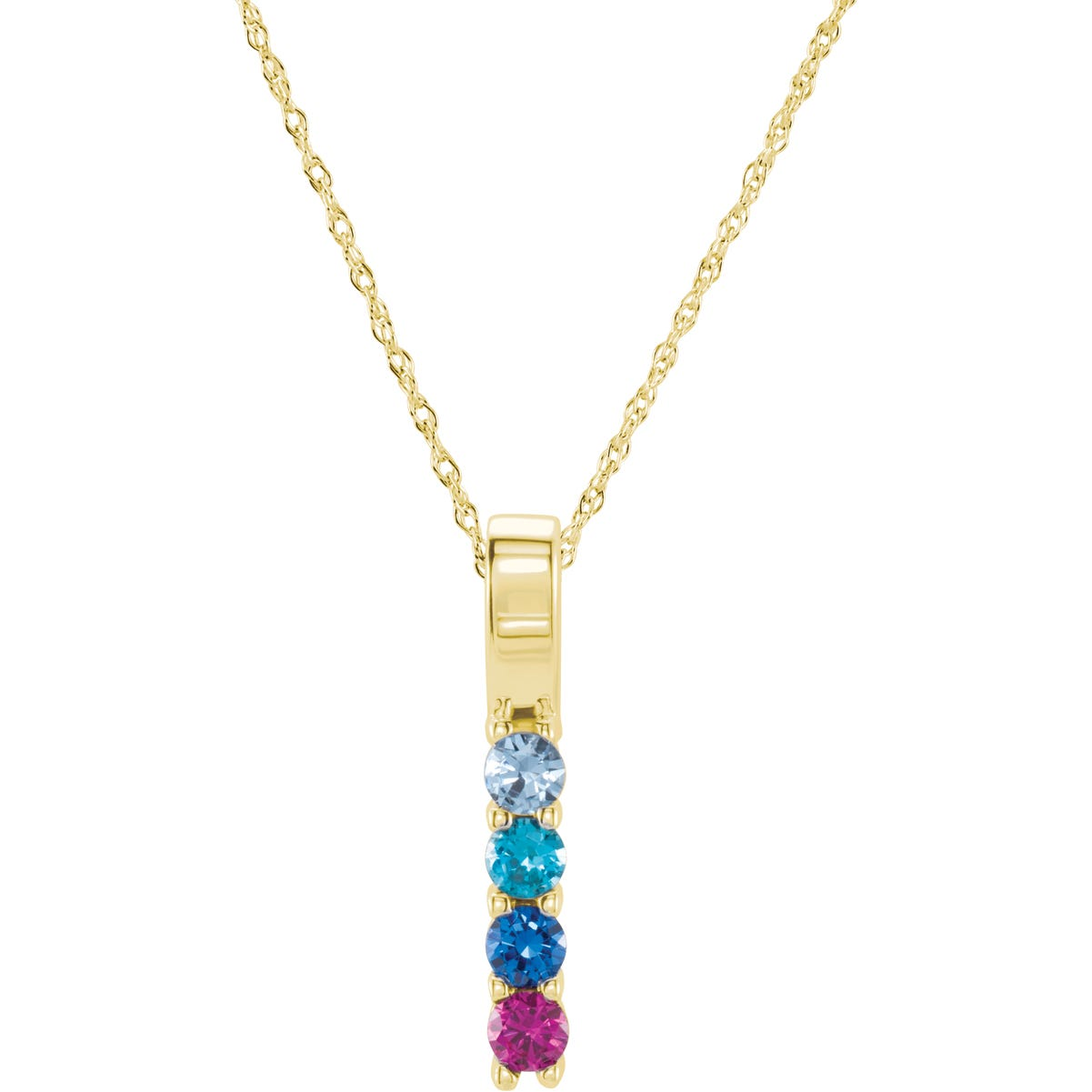 4-Stone Family Vertical Bar Pendant in 14k Yellow Gold