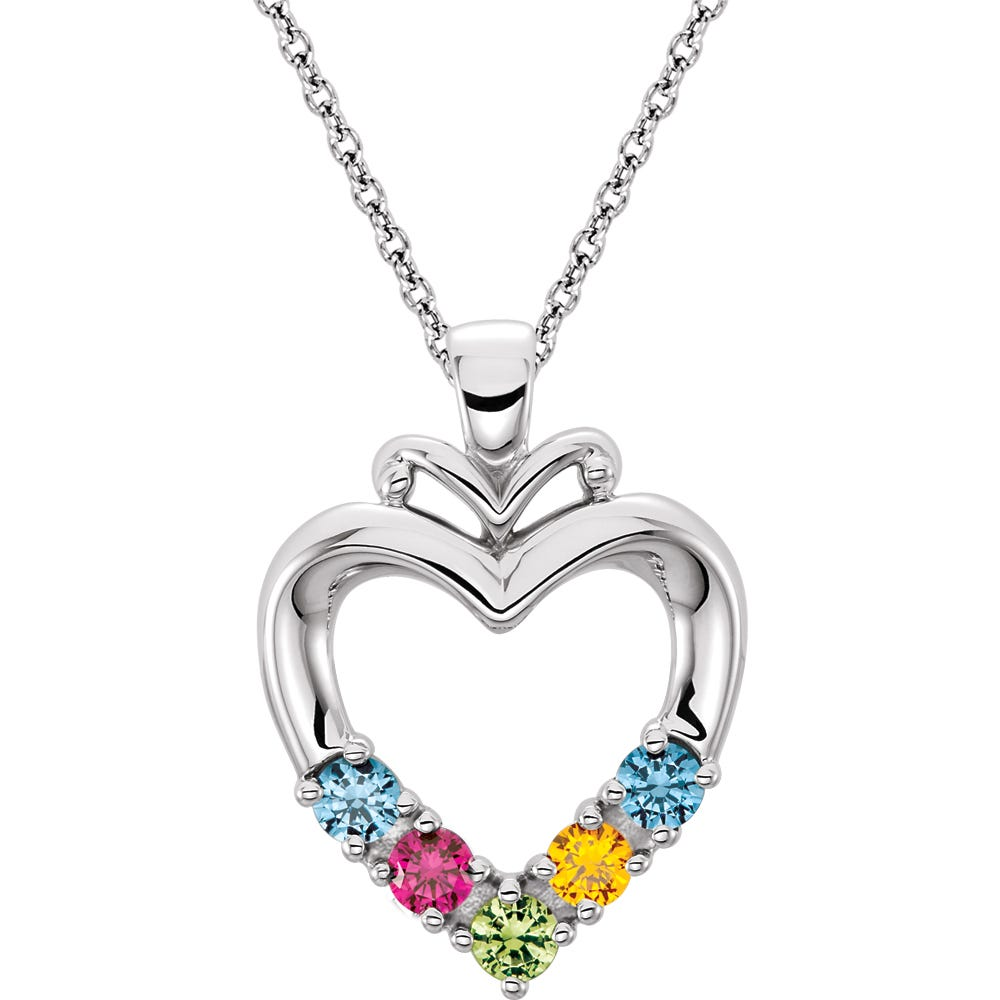 5-Stone Family Heart Pendant in Sterling Silver