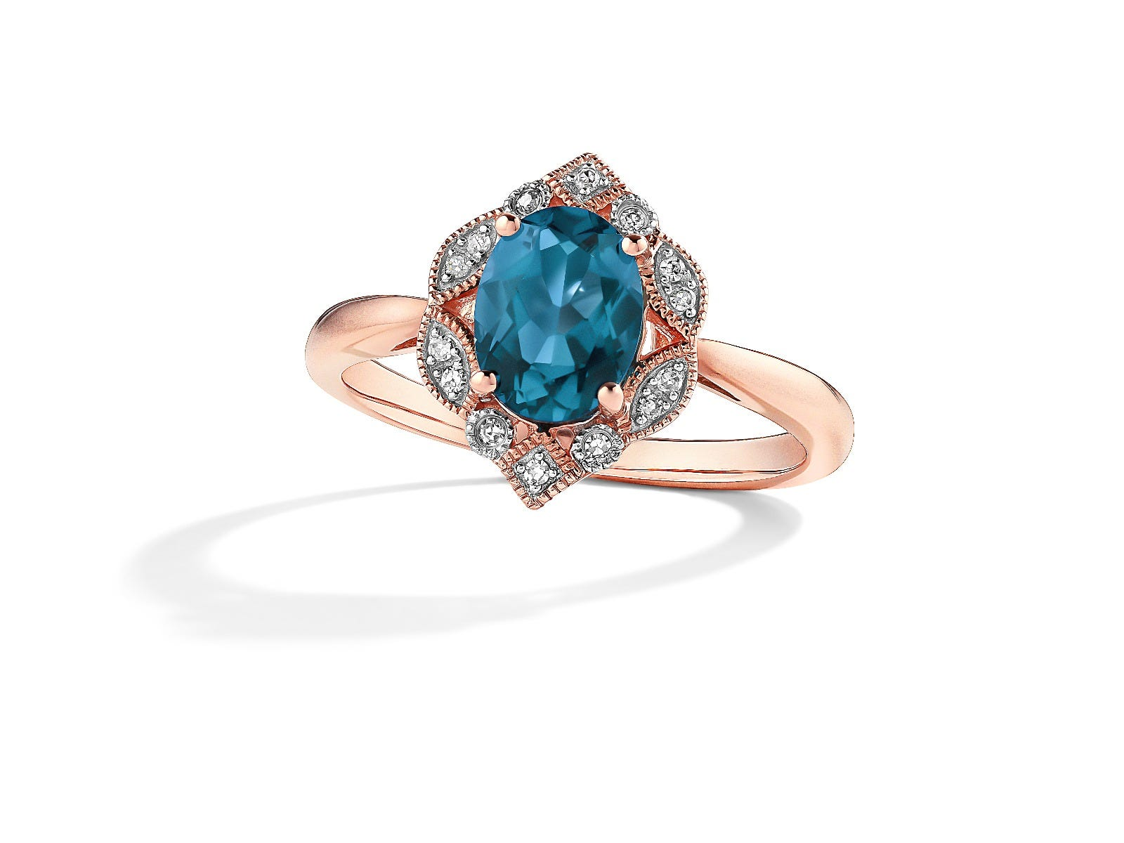 Oval London Blue Topaz & Diamond Ring in 10k Rose Gold