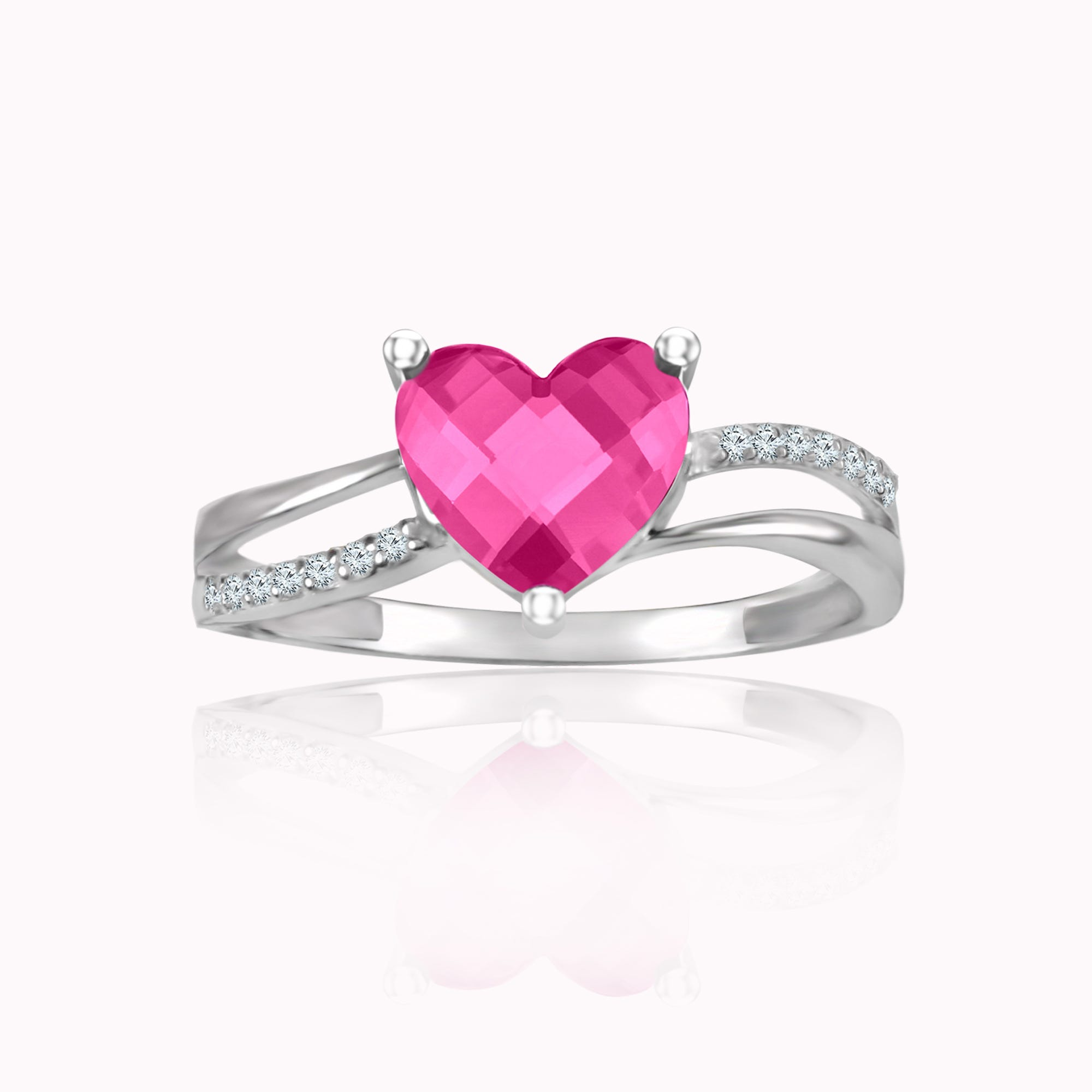 Heart-Shaped Created Pink Sapphire & Diamond Ring in Sterling Silver