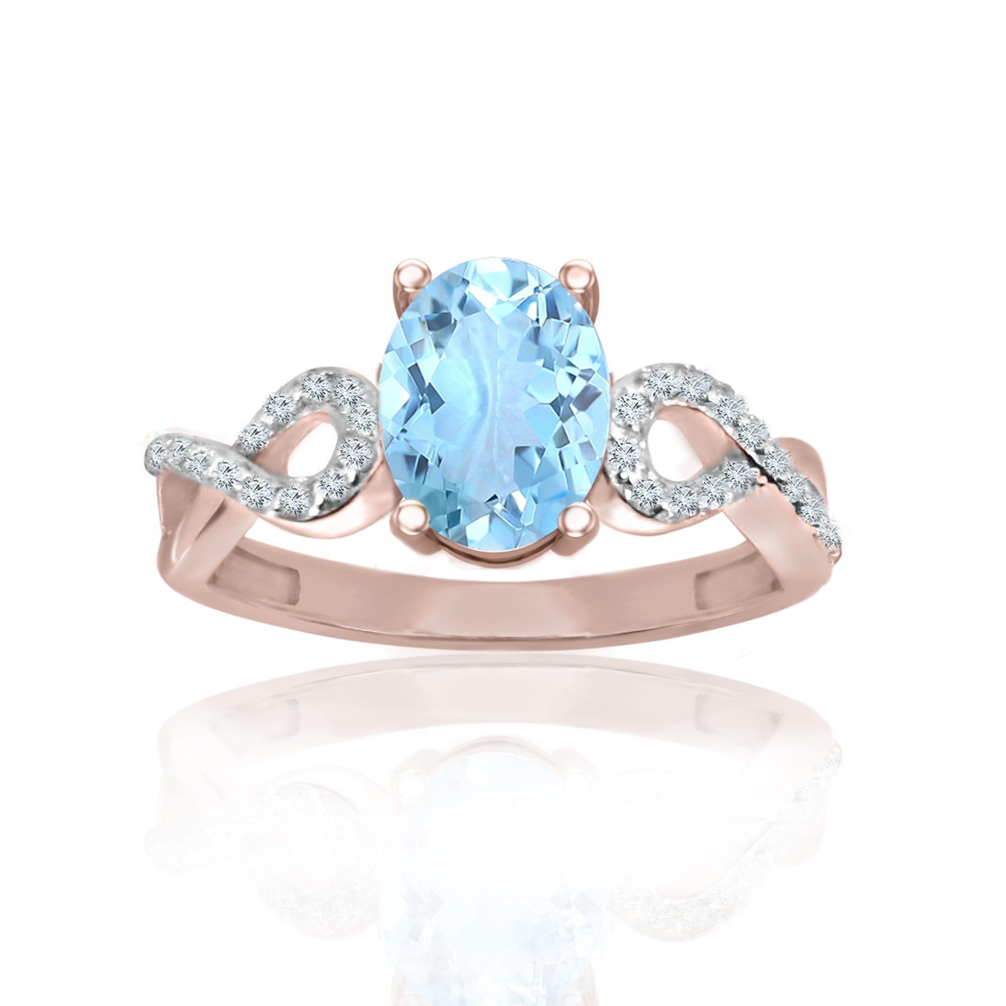 Oval Aquamarine & Diamond Ring in 10k Rose Gold