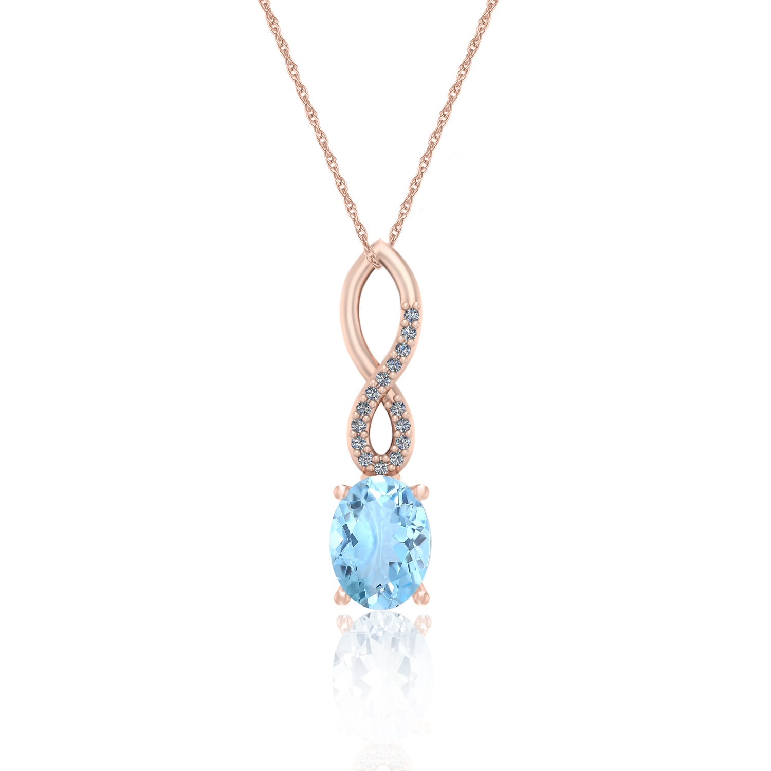 Oval Aquamarine & Diamond Pendant in 10k Rose Gold