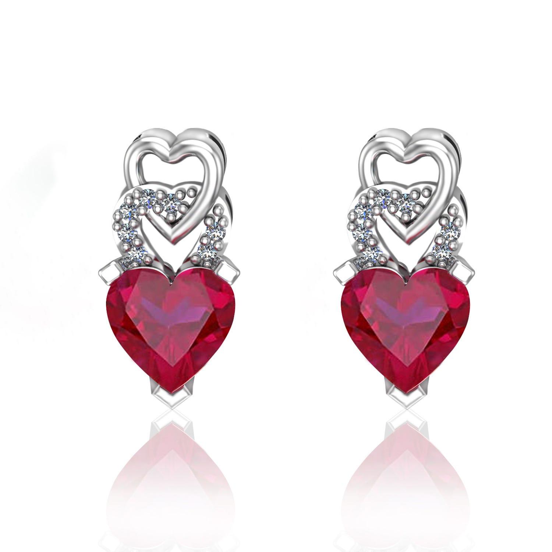 Heart-Shaped Created Ruby & Diamond Earrings in Sterling Silver