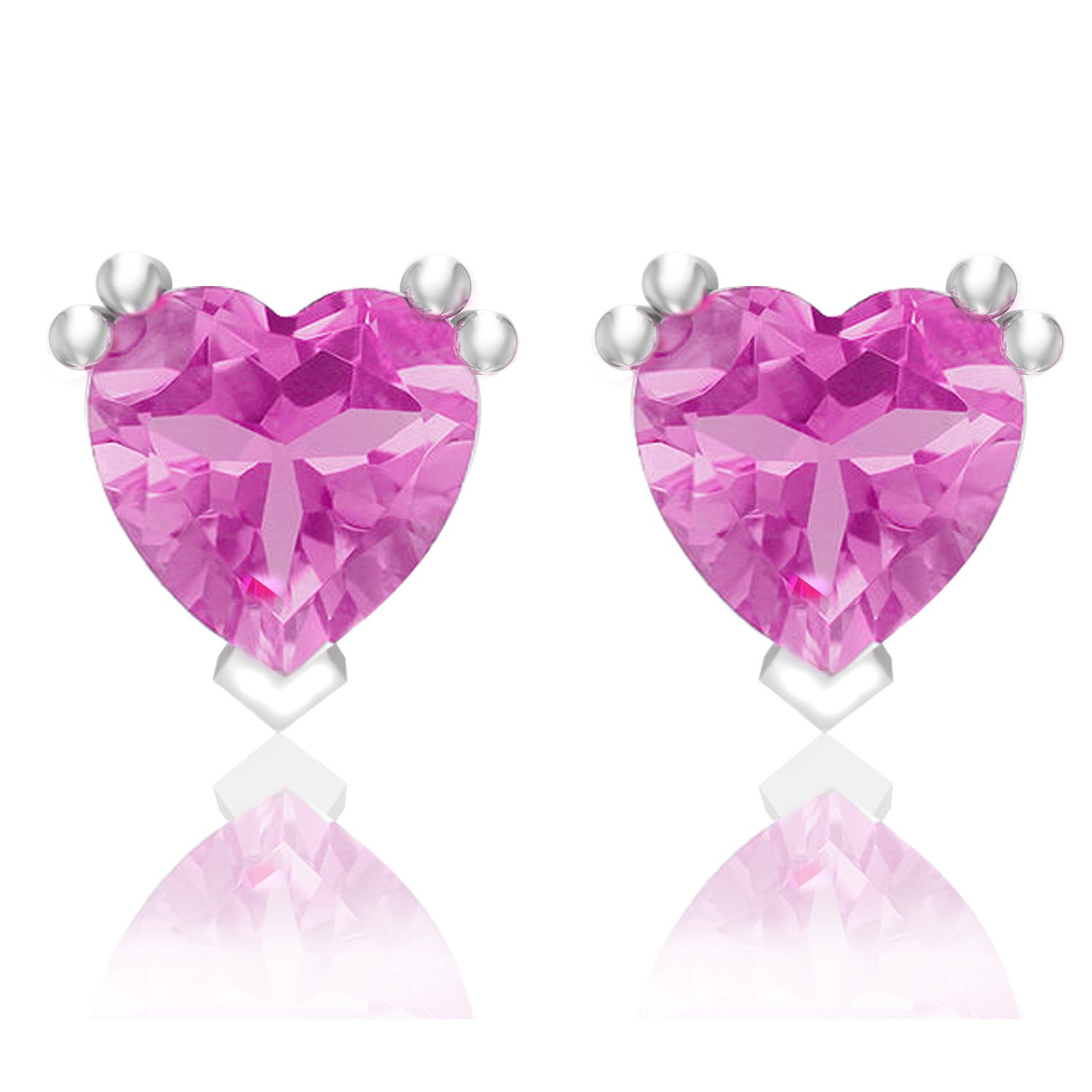 Heart-Shaped Created Pink Sapphire Earrings in Sterling Silver