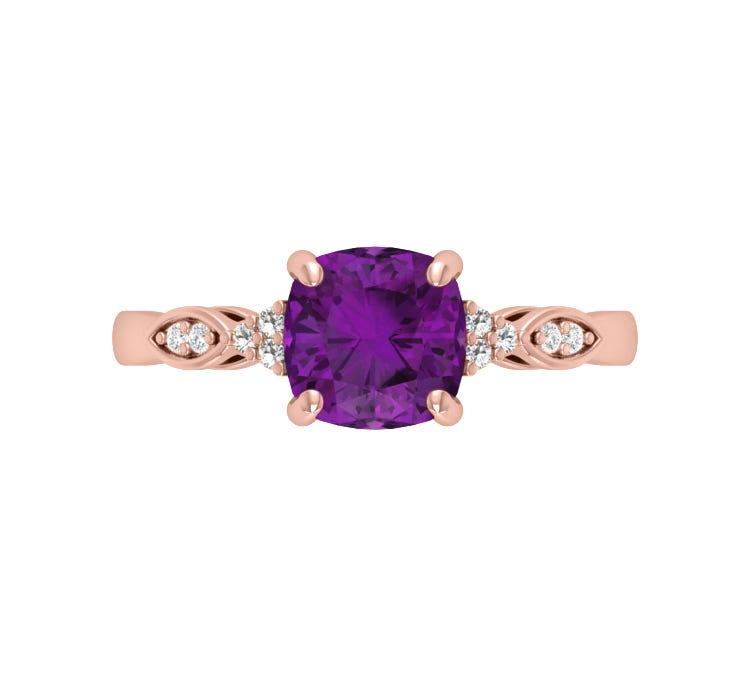 Cushion-Cut Amethyst & Diamond Ring in 10k Rose Gold