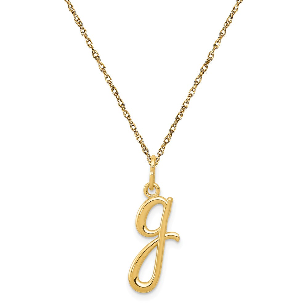 Script G Initial Necklace in 14k Yellow Gold
